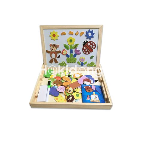 puzzle kayu magnetic papan tulis portable kayu magnetic puzzle elevenia