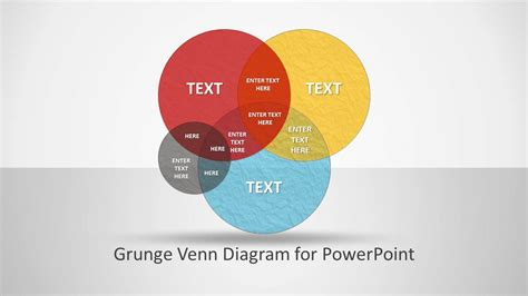 Grunge Venn Diagram For Powerpoint Slidemodel Venn Diagram Template Powerpoint