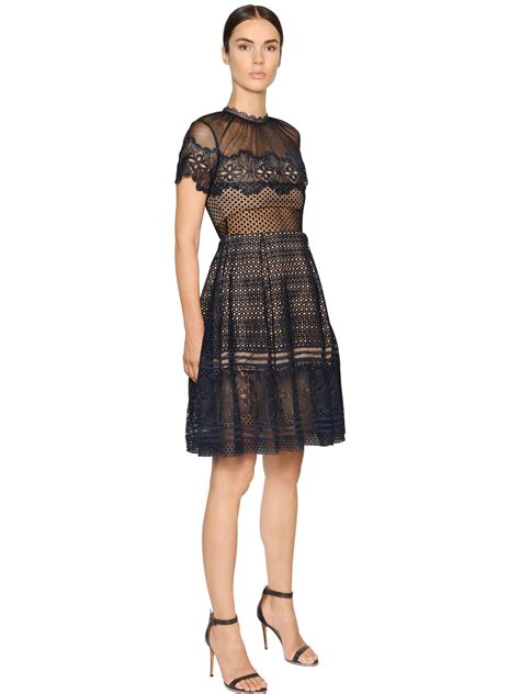 Felicia Dress Navy Bn559x lyst self portrait felicia embroidered sheer lace dress in blue