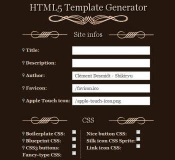 template generator html html5 template generators frameworks and tools hongkiat