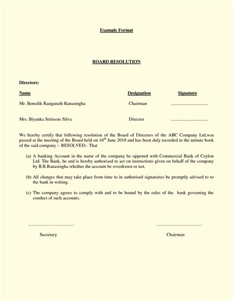 letter of resolution template board resolution template template update234