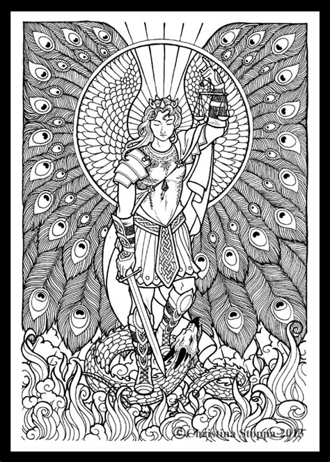 coloring pages for adults michaels saint michael line work by qiu ling deviantart com on