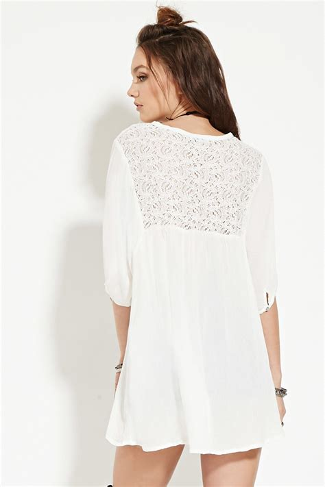 Tunic White Sohib 3 lyst forever 21 boho me lacy floral gauze tunic in white