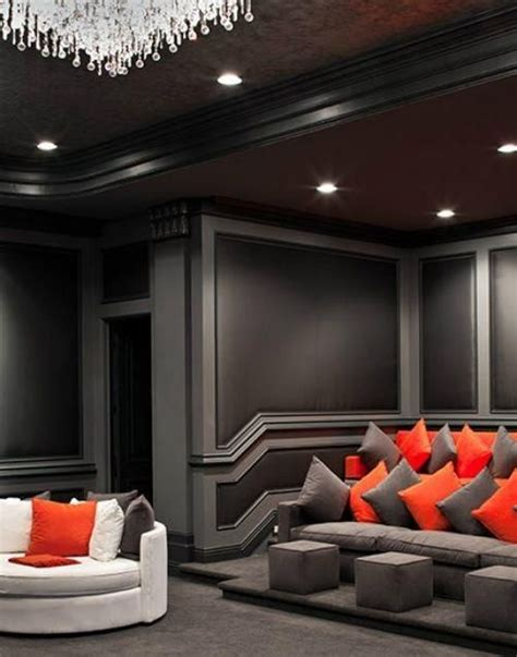 grey  black theater room home theater   home