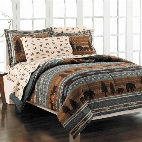 moose comforter set bear and moose cotton brown comforter set bear and moose