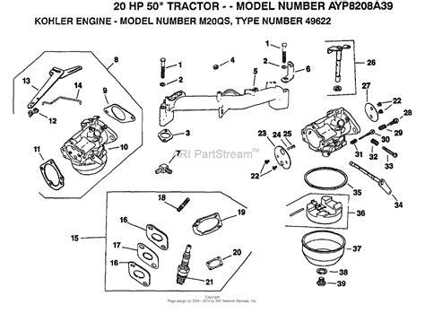 kohler carburetor diagram ayp electrolux ayp8208a39 1993 parts diagram for kohler