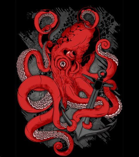 red octopus on anchor pirate ocean tattoos pinterest