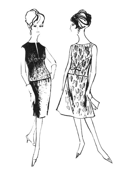 Drawing K On Style by 1960s Colouring In Fashion Line Drawings For Sewing