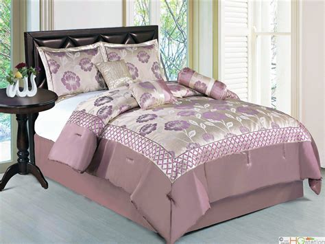 lilac comforter sets queen 7 pc satin jacquard embroidery floral comforter set
