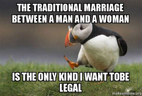 Traditional Marriage Meme - the traditional marriage between a man and a woman is the