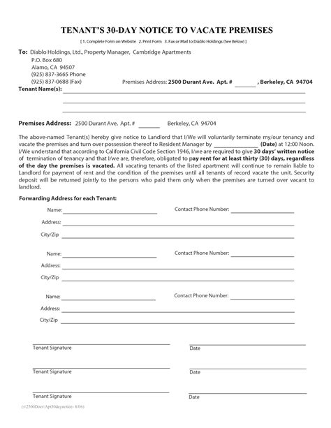 30 day notice to vacate california template best photos of tenant notice to vacate form 30 day