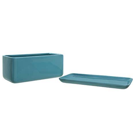 10 Rectangular Turquoise Ceramic Succulent Planter Pot - 10 inch rectangular modern minimalist turquoise ceramic