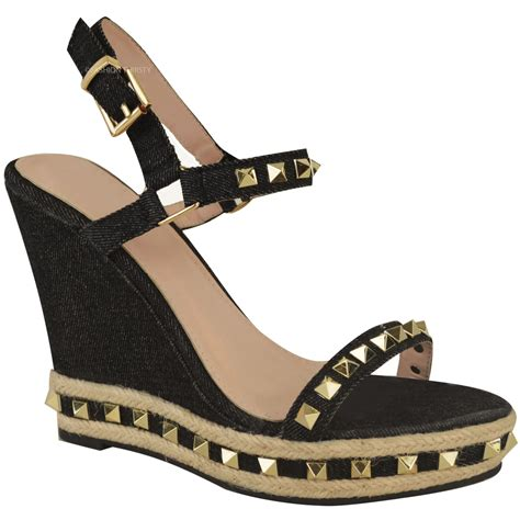 Summer Shoes womens studded wedge sandals strappy platforms