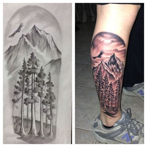 black and grey mountain tattoos scenic view of the andes mountains argentina leg tattoo