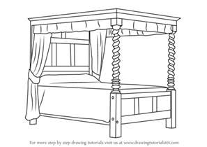 4 Poster Bed Curtains Learn How To Draw A Four Poster Bed Furniture Step By