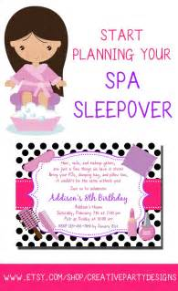 spa sleepover invitation spa slumber invitation spa themed sleepover invite