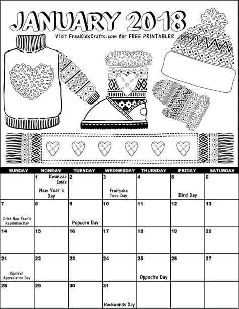 january color 2018 printable january coloring calendar