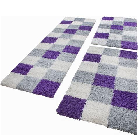 teppich läufer lila tapis de contour de lit de couloir poils longs carreaux