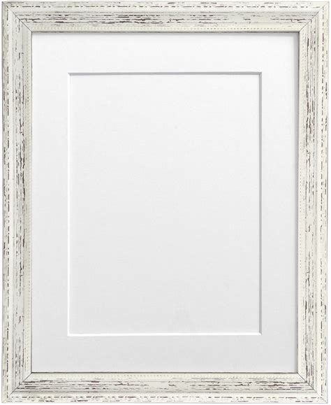 shabby chic distressed white photo frame with black white