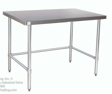 stainless tables with no shelf open base kitchen