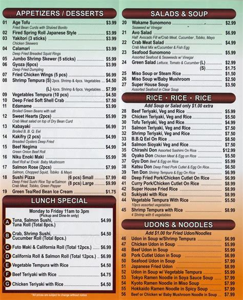 sushi house super sushi house menu menu for super sushi house