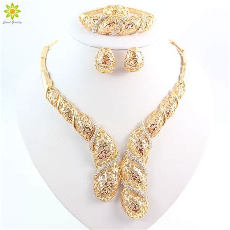 Fashion Bridal Jewelry Sets fashion rhinestone necklace sets gold plated wedding