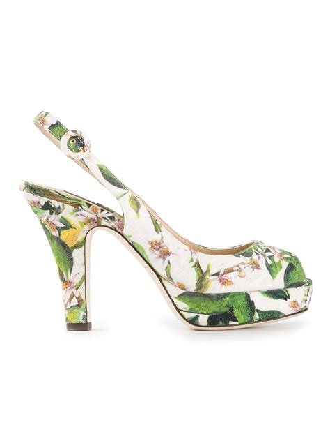 Joston Printed Peep Toe Wedges By Nine West by Dolce Gabbana Floral Print Peep Toe Pumps In Green Lyst