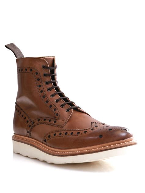 grenson fred brogue boots in brown for lyst