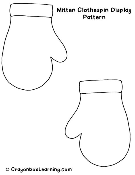 mitten pattern art project printable mitten pattern template teaching pinterest