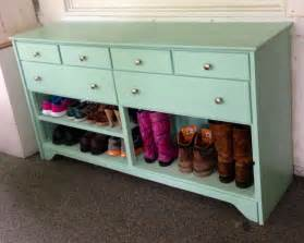 shoe dresser or shoe old dresser painted and turned in to a shoe rack this