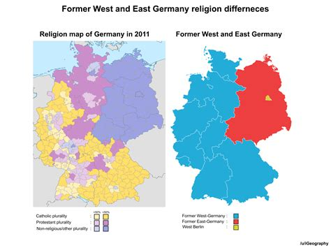 map of east and west germany with cities former west and east germany religion differences maps