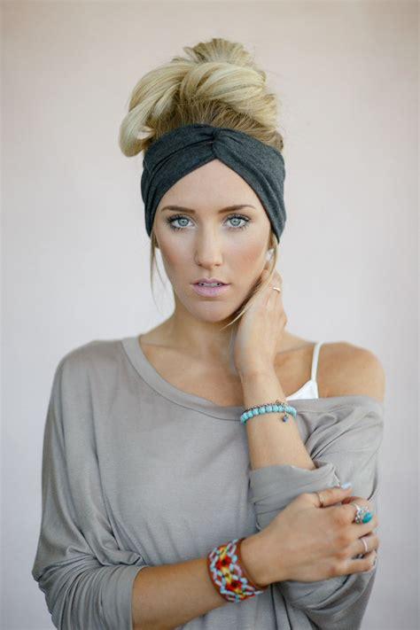 gray and black wrap hairstyles gray turband twist headband charcoal cute head by