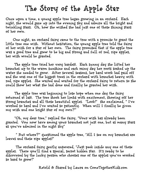 printable toddler stories tel the kids the story of the apple star and then cut into