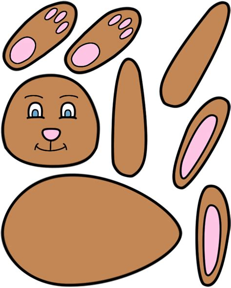 easter bunny paper craft color template