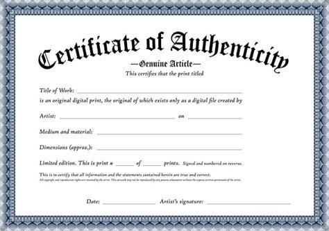 Certificate Of Authenticity Template   sanjonmotel
