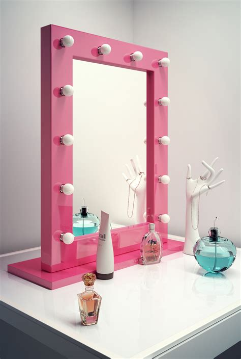 pink and white dressing room pink makeup dressing room mirror with cool white