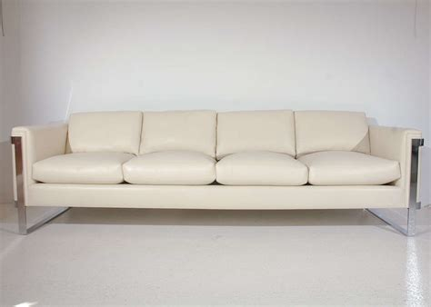 sleek leather sofa sleek polished stainless steel and leather sofa at 1stdibs