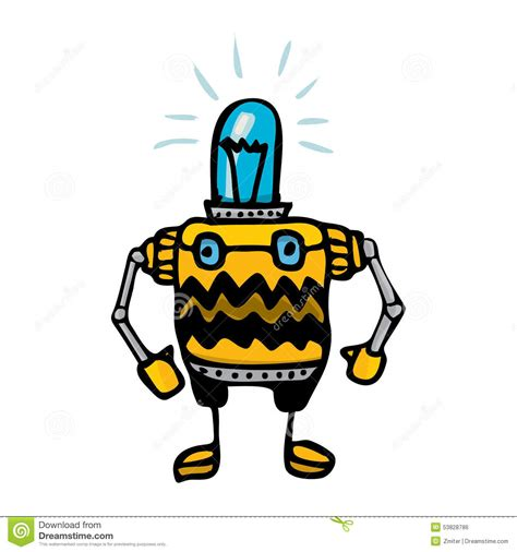 doodlebug drawing robot orange doodle robot on white stock vector image