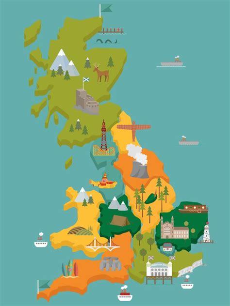 map illustration  popular uk landmarks illustration