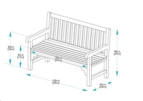 dimensions of bench 150cm teak park bench bridgman