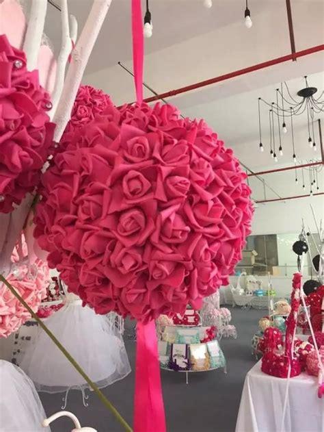 balls centerpieces wedding 9 quot fuschia foam flowers pomanders for wedding