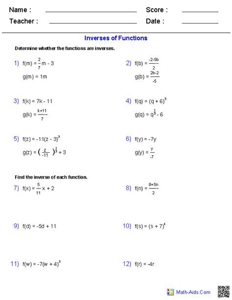 Inverses Of Functions Worksheet by Algebra 2 Worksheets General Functions Worksheets