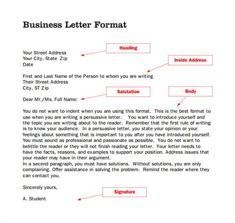 business letter no inside address sle format for business letter 7 free documents in