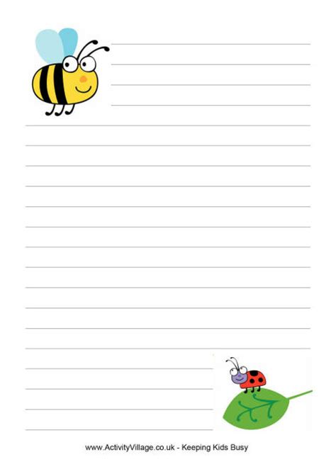 bee writing paper minibeast writing paper 1