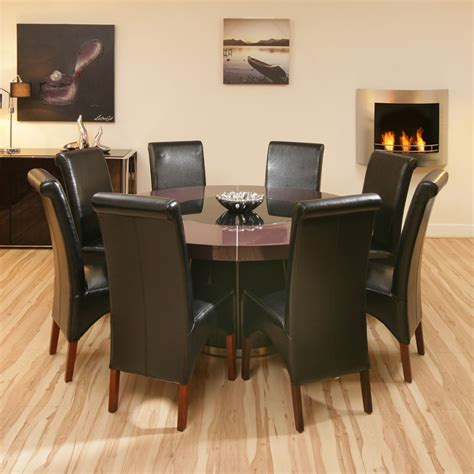 large plum gloss dining table 8 black high back