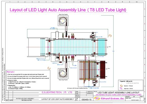 layout design for assembly line t8 led tube light automatic assembly line