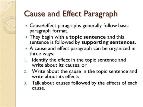 Cause Effect Essay Topic Sentence paragraph development ppt