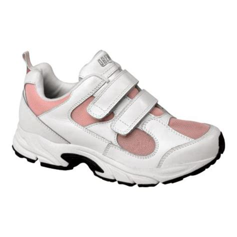 womens velcro athletic shoes drew flash velcro shoes in white leather pink mesh for
