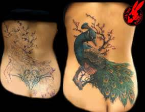 coverup tattoos peacock cover up by jackie rabbit by jackierabbit12
