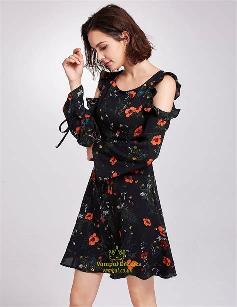 Print Sleeve Dress vintage knee length black a line floral print dress with